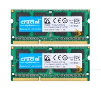 8GB Crucial 2x4GB 2RX8 PC3-8500S DDR3-1066Mhz SODIMM Laptop Memory RAM iMac 2009