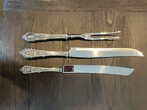 Wallace Rose Point Sterling HH Large 2 Pc Carving Set & Bread/Cake Knife No Mono