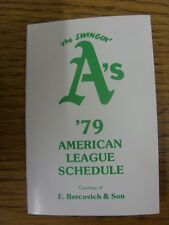 1979 Fixture Card: Baseball - Oakland A's (fold out style). Any faults with this