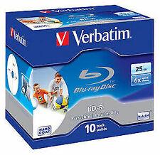 Verbatim BD-R 25GB 6x Printable Blu-Ray Disc - 10 Pack Jewel Case