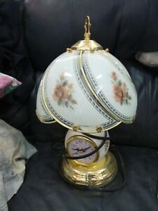 Apricot Rose Touch Lamp with Clock 14.5 inches tall