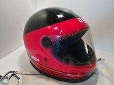 Vintage AGV 80s/90s casco de motocicleta Sarik Diseño Rojo Negro 58 M Mediano