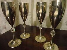 SET OF 4 GLASS SILVER PLATED STEM WINE FLUTES GLASSES WITH CRYSTAL IN THE STEM