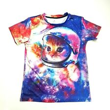 Astronaut Kitten Galaxy Space Cat Graphic on Both Sides SS T-shirt Size M