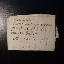 1693 LETTRE COVER MARQUE POSTALE PORT 3 SUR PLI DE SEDAN POUR REIMS