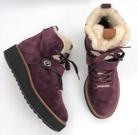 Coach Authentic Urban Hiking Shearling Lined Ankle Boots Oxblood Suede US 8 NWOT