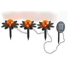 LED Solar-Außen-Gartenstecker FLORA Deko-Wege-Leuchte-Lampe Metall Glaskugel