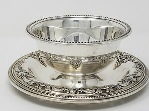 "WALLACE ""Grand Baroque"" Sterling Silver Gravy/Sauce Boat w/ Attached Underplate"
