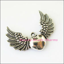 3Pcs Antiqued Silver Tone Heart Wings Charms Pendants 26x35mm