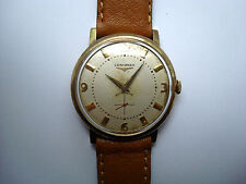 LONGINES A19 Men's Automatic Watch 10k.Gold Filled Second Subdial 1950's GC RUNS