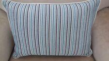 PAIR New Aqua Blue White NAUTICAL STRIPED Breakfast Cushion covers & piping trim