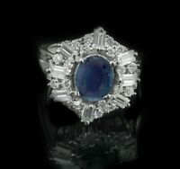 925 Sterling Silver Ring Natural Blue Sapphire Cocktail Size 4-11