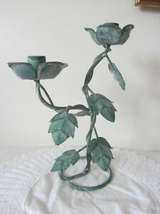 """Leaves Metal Green Candlestick Twin Candle Holder 11"""" H"""