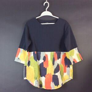 COS Art Design Dark Blue Multicoloured Top Blouse Shirt Collection Size M L