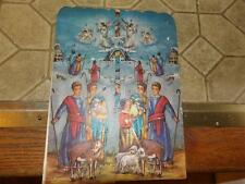 Vintage Christmas Advent Calendar Paper Glitter FOLD OUT GLITTER NEAT NATIVITY