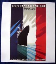 SS NORMANDIE Poster (Reproduction) -- C.G.T. -- French Line