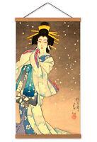 Japanese Geisha Japan Canvas Wall Art Print Poster Magnetic Hanger 24x12 Inch