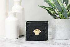 Versace Crocodile Embossed Leather Black Signature Medusa Hardware Bifold Wallet