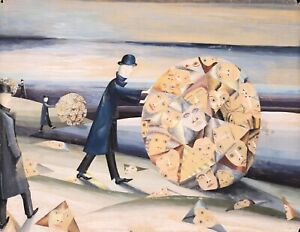 1950's LARGE FRENCH SURREALIST GOUACHE -ON HEAVY PAPER - FIGURES ROLLING SPHERES
