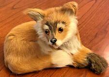 "Vintage Real Fur Fox Cub Figure Paper Mache Glass Eyes Taxidermy-Style 6.5"" L"