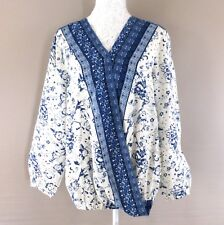 Ladies Long Sleeved Wrap Over Top / Blouse- White & Navy Patterned- Size 20 -NEW