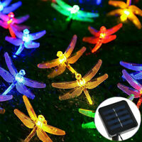 Outdoor Solar Powered 20 LED Dragonfly String Light Garden Xmas Yard Lamp Decor