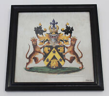 Framed Family Crest Coat of Arms Unclaimed Hand Painted