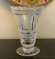 William Yeoward Frosted and Clear Cut Glass Vase with Scalloped Rim
