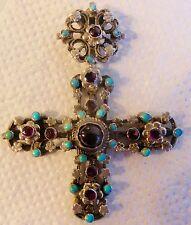 RARE  croix pendentif en métal argenté & pierre semi précieuses -  bijou ancien