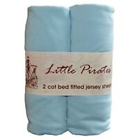 2 x Baby Cot Bed Fitted sheet 70x140 100 Jersey Cotton - Blue