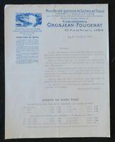 Facture 1926 GROSJEAN FOUGERAT rue de Marseille LYON meunerie farine