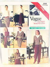 Vogue Pattern 2329 Career Wardrobe 80s 90s Sz 12 14 16 Pants Suit Jacket Skirt