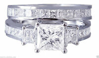 3.55 cts Princess Diamond Engagement Ring Wedding Band Solid 14k White Gold