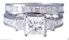 3.55 cts Princess Diamond Engagement Matching Wedding Band Solid 14k White Gold