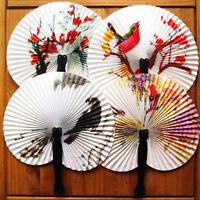 2x Paper Hand Fan Folding Wedding Party Favor Decoration Colorful Random