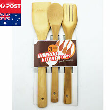 Kitchen Wooden Long Cooking Spoons Pancake Scoop Turner Bamboo Utensil Set