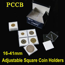 5x Clear Adjustable Coin Square Holder Display Storage Case Box+Ring 16-41mm