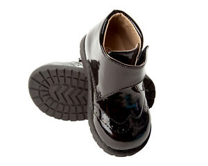 BOYS BLACK PATENT PAGEBOY WEDDING FORMAL SHOES SMART ANKLE BOOTS UK SIZE 4-10