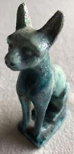 Antique Egyptian Bastet Blue Faience Deity Cat Statue Ancient Glazed Goddess Miw