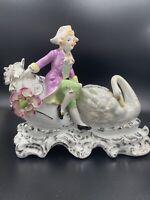 Vintage Ucagco Porcelain Figurine Vase Victorian Man & Swan Japan