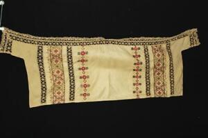 RARE FRENCH VINTAGE 1940'S-1950'S YELLOW  LINEN HAND EMBROIDERED TABLE RUNNER