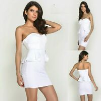 Sz 10 12 White Lace Peplum Ruffle Strapless Dance Party Cocktail Formal Dress