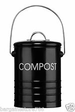 Red Black Ceam Odour Beating Compost Pail Caddy Food Waste Recycling Bin Handle