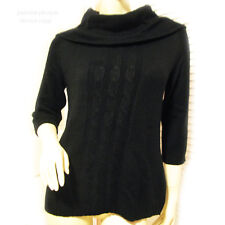 ELEMENTZ NWT Black 3/4 Sleeve Cowl Neck Cable Knit Sweater Top Womens Sweaters S