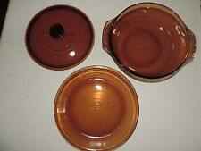 Anchor Hocking Amber Oven Basics 1.5 Quart Covered Casserole W Lid & Pie Plate