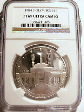 1984 S RARE GEM SUPERB OLYMPIC SILVER PROOF NGC PF69 ULTRA CAMEO!! LOOK!!
