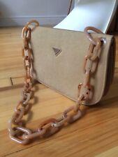 PRADA Vintage Fabric Shoulder Bag With Tortoise Chain Link Camel