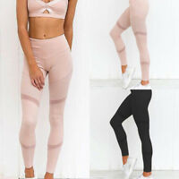 Women Yoga Mesh Running Gym Leggings Trousers Lady Girl Fitness Sportswear Pants