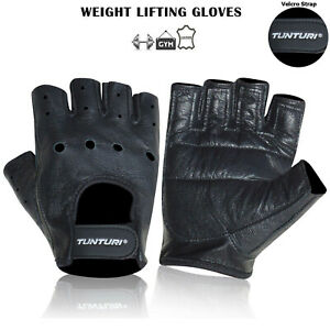 Weight Lifting Leather Gym Fitness Body Building Workout Training Gloves - Black