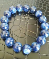 12mm Certified Natural Blue Kyanite Crystal Cat Eye Beads Stretch Bracelet